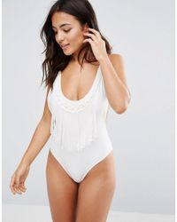 Wolf & Whistle - White Cut Out Crochet Trim Swimsuit - Lyst