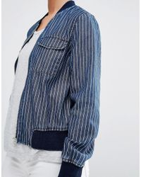 Noisy May Petite - Blue Denim Pin Stripe Bomber Jacket - Lyst