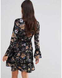 Liquorish - Black Floral Print Skater Dress With Tiered Skirt - Lyst