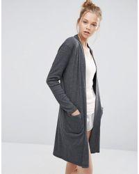 ASOS | Gray Lounge Ribbed Midi Robe | Lyst