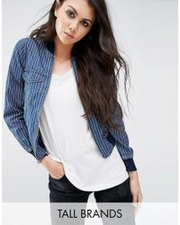 Noisy May Tall | Blue Denim Pin Stripe Bomber Jacket | Lyst