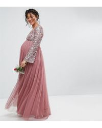 967ce57cdf9d Maya Maternity. Women's Purple Long Sleeve V Neck Maxi Dress With Tonal  Delicate Sequins