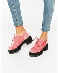 ASOS | Pink Obaca Chunky Velvet Lace Up Shoes | Lyst