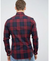 ASOS - Skinny Check Shirt In Red for Men - Lyst