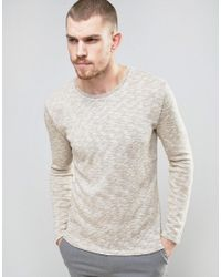 SELECTED | Natural Knitted Sweater With Melange Detail for Men | Lyst
