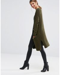 New Look - Green Fine Knit Cardigan - Lyst