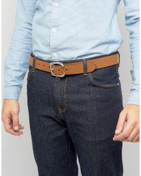 ASOS - Brown Slim Tan Belt With Western Horseshoe Buckle for Men - Lyst