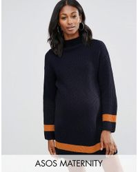 ASOS   Blue Jumper Dress With Funnel Neck And Tipping   Lyst