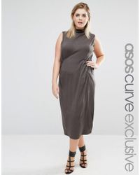 ASOS   Green Column Dress In Crepe With Funnel Neck And Pocket Detail   Lyst
