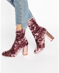 Missguided | Pink Velvet Blocked Heeled Sock Boots | Lyst