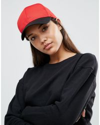 ASOS | Red Basic Baseball Cap In Colour Block Mesh | Lyst