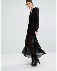 Vero Moda | Black Tiered Maxi Dress | Lyst