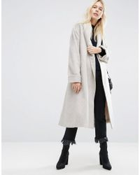 ASOS | Pink Coat In Soft Texture With Belt | Lyst