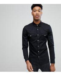 98844444b1e8b8 Lyst - ASOS Tall Skinny Denim Western Shirt In Black in Black for Men