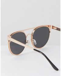 ASOS | Metallic Round Sunglasses In Rose Gold With Pink Mirror Lens for Men | Lyst