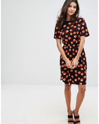 Warehouse - Multicolor Abstract Dot Gathered Waist Dress - Lyst