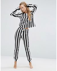ASOS | Black 100% Cotton Mono Stripe Long Sleeve Tee & Jogger Pyjama Set | Lyst