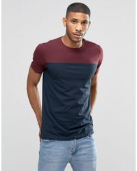 Lindbergh - Red T-shirt With Colour Block In Burgundy for Men - Lyst