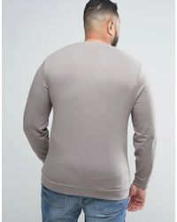 ASOS - Natural Plus Lightweight Muscle Sweatshirt In Stone for Men - Lyst