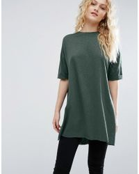 ASOS | Green T-shirt With Side Split And Longline Oversized Fit In Textured Jersey | Lyst