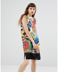 Love Moschino | Multicolor Scarf Print Deep V Back Dress | Lyst
