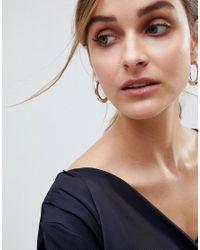 ASOS - Metallic Design Silver Plated Oval Hoop Earrings - Lyst