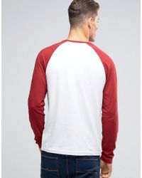 Abercrombie & Fitch - Henley Long Sleeve Baseball Top With Contrast Sleeves In Red for Men - Lyst
