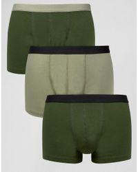 ASOS - Green Trunks In Khaki 3 Pack Save for Men - Lyst