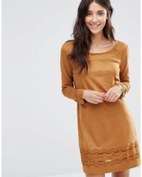 5ea992ed078 Lyst - Vila Drawn Long Sleeve Dress in Brown