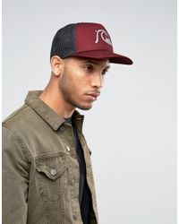 Quiksilver - Red Quicksilver Trucker Cap for Men - Lyst