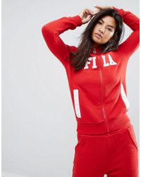 Fila - Red Tracksuit Top With Zip Front And Front Logo - Lyst