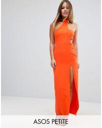 ASOS   Orange Gold Bar Halter Maxi Dress   Lyst