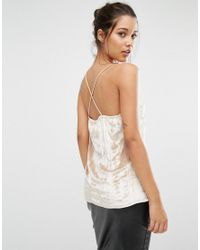 Missguided   Natural Pleated Cross Back Cami Top   Lyst