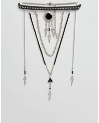 ASOS - Black Studded Multirow Bolo Choker Necklace - Lyst