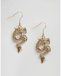 ASOS | Metallic Dragon Spike Earrings | Lyst