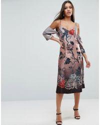 ASOS | Multicolor Cold Shoulder Column Dress In Winter Floral Print | Lyst