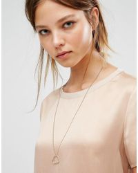 Pieces - Metallic Ivy Heart Necklace - Lyst