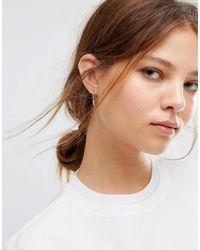 Pieces - Metallic Tabine Through & Through Earrings - Lyst