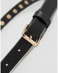 Vero Moda - Black Studded Embossed Belt - Lyst