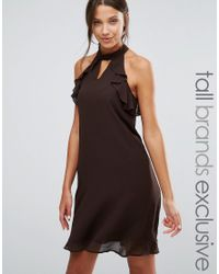 True Decadence - Brown Frill Sleeve Shift Dress - Lyst
