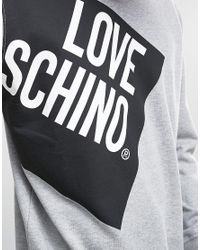Love Moschino - Gray Side Logo Sweater for Men - Lyst
