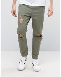 ASOS | Green Slim Cropped Chino Joggers With Knee Rips In Khaki for Men | Lyst
