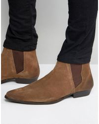 ASOS - Pointed Chelsea Boots In Brown Suede for Men - Lyst