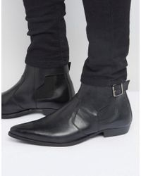ASOS - Chelsea Boots In Black Leather With Buckle Detail for Men - Lyst