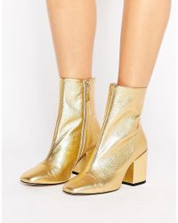 Mango | Metallic Gold Leather Ankle Boot | Lyst