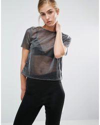 Miss Selfridge - Gray Metallic T-shirt - Lyst