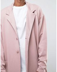 ASOS - Oversized Longline Jersey Duster Coat In Pink for Men - Lyst
