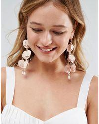 ASOS - Natural Metal Petal Drop Earrings - Lyst