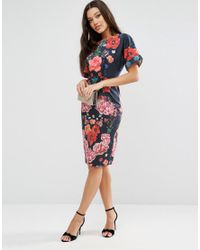 ASOS - Blue Wiggle Midi Dress In Placement Floral - Lyst