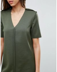 ASOS - Green Mini Shift Dress With Exposed Seams - Lyst